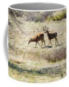 Pair Of Mule Deer Grazing At Chatfield Coffee Mug