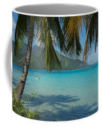 Palm Trees Cast A Shadow In Blue Water Coffee Mug