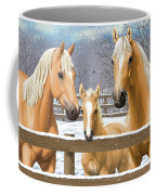 Palomino Quarter Horses In Snow Coffee Mug by Crista Forest