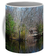 Panorama Of Lake, Trees And Cabin Coffee Mug