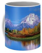Panoramic Autumn Morning Oxbow Bend Grand Tetons National Park Coffee Mug