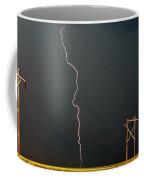 Panoramic Lightning Storm And Power Poles Coffee Mug