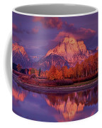 Panoramic Sunrise Oxbow Bend Grand Tetons National Park Coffee Mug