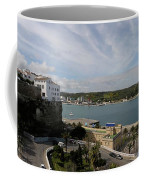 panoramic town 1  - Panorama of Mahon Menorca with old town and harbour Coffee Mug