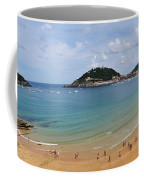 Panoramic View Of Beautiful Beach, San Sebastian, Spain  Coffee Mug