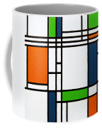 Parallel Lines Composition With Blue Green And Orange In Opposition Coffee Mug by Oliver Johnston