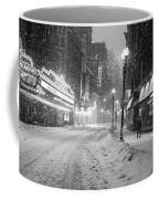 Paramount Snowstorm Boston Ma Washington Street Black And White Coffee Mug