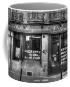 Paris France Book Store Library Black And White Coffee Mug
