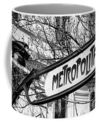 Paris Metro Sign Bw Coffee Mug