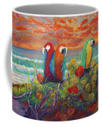 Parrots On Sunset Beach Coffee Mug