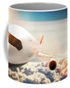 Passenger Airplane Flying At Sunshine, Blue Sky. Coffee Mug