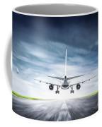 Passenger Airplane Taking Off On Runway Coffee Mug