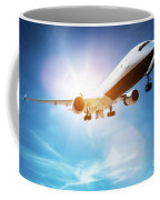 Passenger Airplane Taking Off, Sunny Blue Sky. Coffee Mug