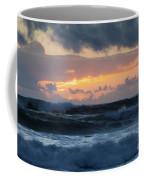 Pastel Sunset Over Stormy Waves Coffee Mug