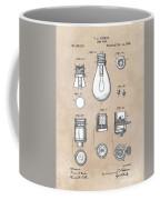 patent art Edison 1890 Lamp base Coffee Mug
