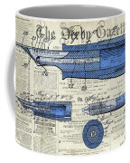 Patent, Old Pen Patent,blue Art Drawing On Vintage Newspaper Coffee Mug