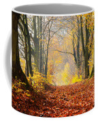 Path Of Red Leaves Towards Light Coffee Mug