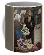 Paul Fischer, 1860-1934, Flower Market In Copenhagen Coffee Mug