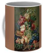 Paulus Theodorus Van Brussel - Still Life Of Flowers And Fruit On A Stone Ledge, Coffee Mug