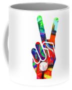 Peace Hippy Paint Hand Sign Coffee Mug