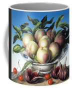 Peaches In Delft Bowl With Purple Figs Coffee Mug