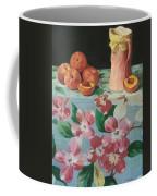 Peaches On Floral Tablecloth Coffee Mug