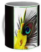 Peacock Feather And Gladiola 3 Coffee Mug