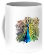 Peacock Watercolor Painting Coffee Mug