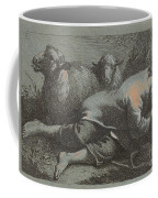 Peasant Boy Asleep Near Two Sheep Coffee Mug
