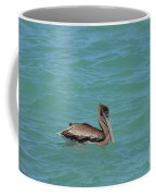 Pelican Floating In The Tropical Waters In Aruba Coffee Mug