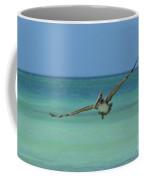 Pelican Flying In The Carribean Waters Off Aruba Coffee Mug