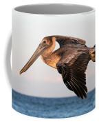 Pelican In Flight At Sunset Coffee Mug