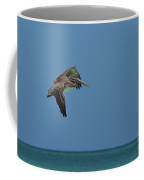 Pelican In Flight Over Gorgeous Tropical Waters Of Aruba Coffee Mug