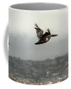 Pelicans Flying Over San Francisco Bay Coffee Mug