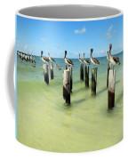 Pelicans On Pier Pilings Coffee Mug