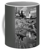 Pemaquid Point Lighthouse Maine Black And White Coffee Mug