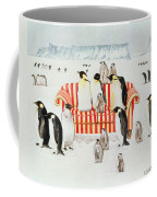 Penguins On A Red And White Sofa  Coffee Mug by EB Watts