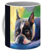 Pensive Boston Terrier Dog Painting Coffee Mug by Svetlana Novikova