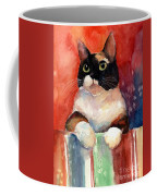 Pensive Calico Tubby Cat Watercolor Painting Coffee Mug