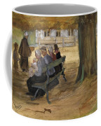 People Sitting On A Bench In Bezuidenhout. The Hague Coffee Mug