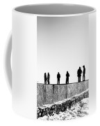 People Standing In Groups Abstract Monchrome Coffee Mug