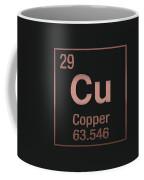 Periodic Table Of Elements - Copper - Cu - Copper On Black Coffee Mug