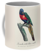 Perruche A Tete Bleue, Male / Rainbow Lorikeet, Male - Restored 19th Cent. Illustration By Barraband Coffee Mug