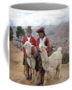 Peruvian Girls With Llamas Coffee Mug