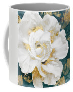 Petals Impasto White And Gold Coffee Mug by Mindy Sommers