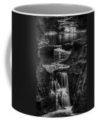 Pewits Nest Waterfalls In Black And White Coffee Mug