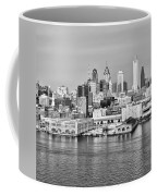 Philadelphia From The Waterfront In Black And White Coffee Mug