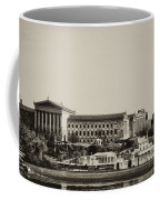 Philadelphia Museum Of Art And The Fairmount Waterworks From West River Drive In Black And White Coffee Mug
