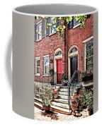Philadelphia Pa - Townhouse With Red Geraniums Coffee Mug