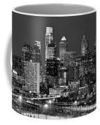 Philadelphia Skyline At Night Black And White Bw  Coffee Mug